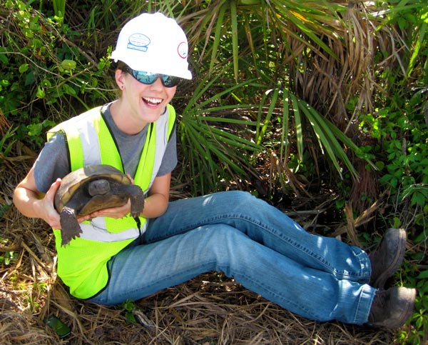 Rebecca Barkdoll with Gopher Tortoise